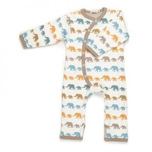 Elephant print blue-taupe baby grow