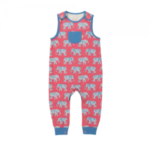 Kite Elephant Pink & Blue Baby Dungarees